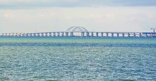Crimean bridge. Sea landscape with Black Sea and Crimean bridge royalty free stock photography