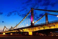 Crimean bro på natten, Moskva, Ryssland Royaltyfria Bilder