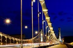 Crimean bro på natten, Moskva, Ryssland Arkivbild