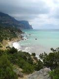 The Crimean coast near Cape Aiya. Crimean coast near Balaclava, Sevastopol, Ukraine Royalty Free Stock Photo