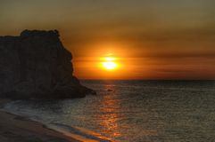 The Crimean coast. Sunset. Crimea, Azov sea coast, sunset, beach, cliffs Royalty Free Stock Photography
