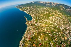 Crimean coast view from the top of the mountains, sea and forest stock photo