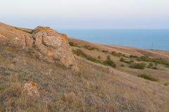 Crimean hills in the background of the black sea stock photography