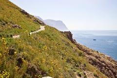 Crimean landscape. Slope of high mountain on the black Sea coast in Crimea Stock Photo
