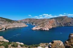 Crimean landscape - Balaklava. Crimean Mountains form the city of Balaklava, Ukraine royalty free stock photography