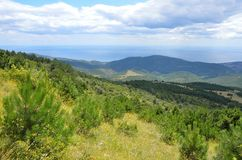 Crimean landscape from the foothills of a plateau of Karabi-Yayla. Crimean landscape from the foothills of the plateau of Karabi-Yayla Royalty Free Stock Image
