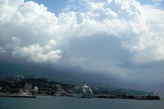 The Crimean landscape, the liner in Yalta Royalty Free Stock Images