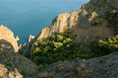 Crimean landscape natural reserve on a Black Sea shore. Stock Images