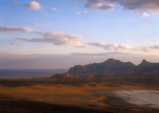 Crimean landscape at sunset. Stock Photos