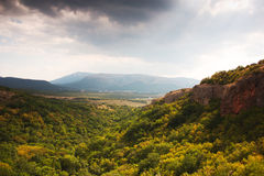 Crimean landscape. Very beautiful landscape with mountains, forests and dramatic sky Stock Images