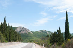 Crimean landscape,  view of mountain road Royalty Free Stock Photography