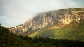 Crimean Mesa table mountains running clouds time-lapse footage near the Bakhchysarai, Ukraine.  stock video