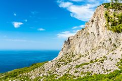 The Crimean Mountains and the Black Sea at Foros. Yalta, Crimea royalty free stock image