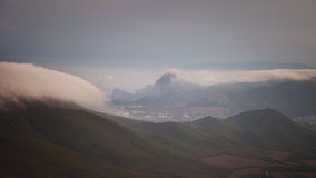 Crimean mountains in the clouds. Royalty Free Stock Image