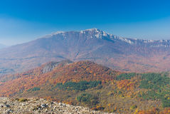 Crimean mountains at fall season Royalty Free Stock Photo