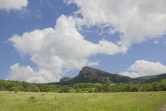 Crimean mountains and fields. In summer Royalty Free Stock Photos