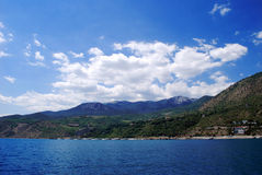 Crimean mountains. Look from the Black Sea in Alushta stock photography