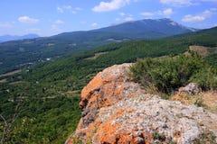 Crimean mountains near Alushta in August. Crimean mountains in a hot sunny day near Alushta Stock Photography