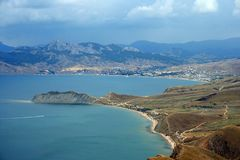 Crimean mountains near Koktebel in August. Crimean mountains in a hot sunny day near Koktebel Royalty Free Stock Image