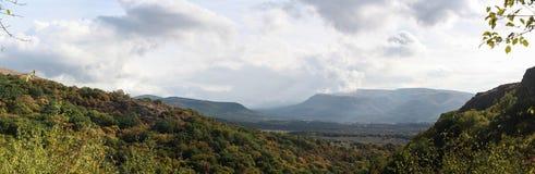 Crimean mountains (panorama). Crimean mountain landscape. Simferopol, Red Cave (Kizil-Koba) and Sioux Falls Uchhan Stock Photo