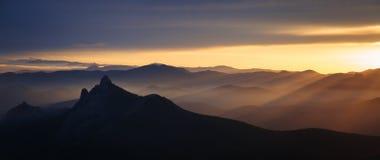 Crimean mountains Taraktash at sunset Royalty Free Stock Photo