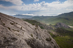 Crimean mountains under the blue sky with clouds Royalty Free Stock Images