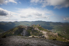Crimean mountains under the blue sky with clouds Stock Image