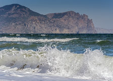 Crimean Peninsula , Russia . Beach in the village of Sun Valley Royalty Free Stock Photo