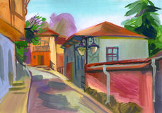 Crimean sketch in gouache Stock Photos