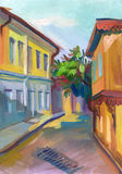 Crimean sketch in gouache Royalty Free Stock Photo
