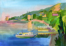 Crimean sketch in gouache Royalty Free Stock Image