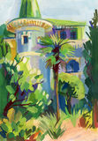 Crimean sketch in gouache Royalty Free Stock Images