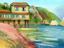 Crimean sketch in gouache Royalty Free Stock Photography