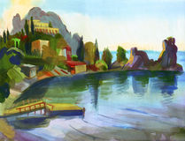 Crimean sketch in gouache Stock Image