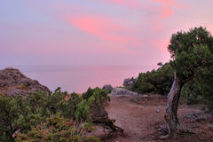 Crimean sunset. Amazing sunset on a crimean seacoast Royalty Free Stock Photo