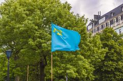 Crimean Tatar Flag. In the Wind at Clowdy Day Stock Images