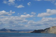 Crimean view. Beautiful crimean view with a black sea and clouds stock photos