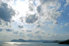 Crimean view. Beautiful crimean view with a black sea and clouds royalty free stock photos