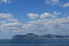 Crimean view. Beautiful crimean view with a black sea and clouds royalty free stock photo