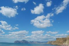 Crimean view. Beautiful crimean view with a black sea and clouds stock photography