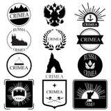 crimeia Insígnias retros ou Logotypes do vintage ajustadas Projeto Imagem de Stock
