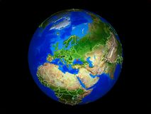 Crimeia na terra do espaço imagem de stock