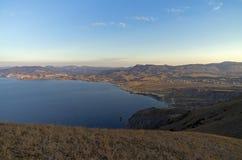 crimeia Vista da baía da inclinação do cabo Meganom Imagem de Stock