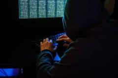 Crimen cibernético en Internet Foto de archivo libre de regalías