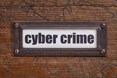 Crimen cibernético - etiqueta del gabinete de fichero Foto de archivo libre de regalías
