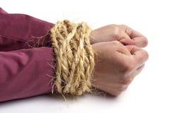 Crimen del asunto, manos atadas Foto de archivo libre de regalías