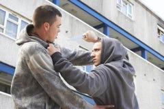 Crimen del cuchillo en la calle urbana Imagen de archivo libre de regalías