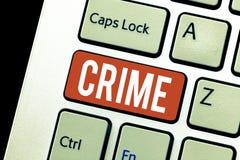 Crimen del texto de la escritura Concepto que significa las actividades ilegales de las acciones federales de la ofensa castigabl foto de archivo libre de regalías