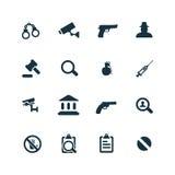 Crimen, iconos de la justicia fijados Imagen de archivo libre de regalías