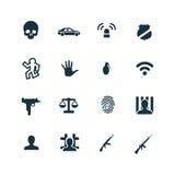 Crimen, iconos de la justicia fijados Imágenes de archivo libres de regalías